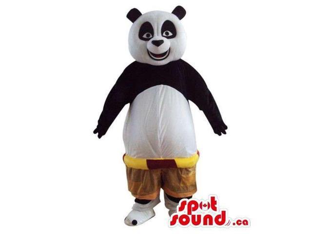 Kung Fu Panda Cartoon Character Plush Canadian SpotSound Mascot In Low Rise Shorts