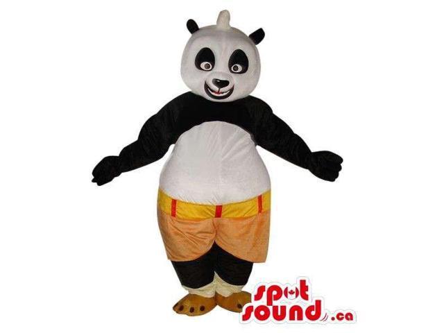 Kung Fu Panda Cartoon Character Plush Canadian SpotSound Mascot In Brown Shorts