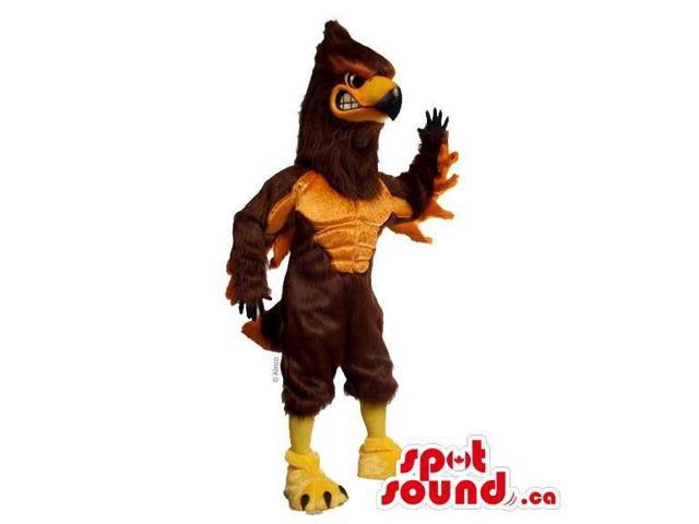 Customised Brown American Eagle Canadian SpotSound Mascot With Strong Muscles
