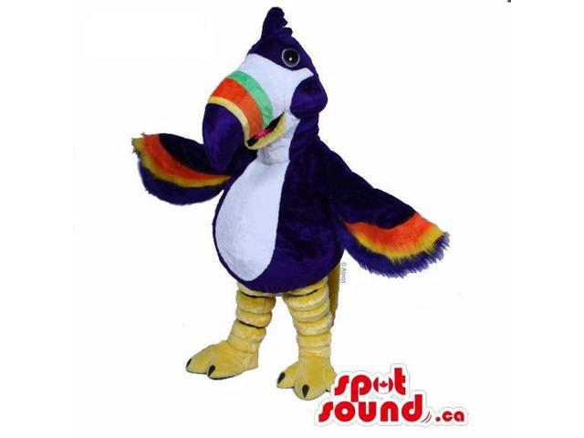 Customised Blue Pelican Canadian SpotSound Mascot With Colourful Wings And Beak