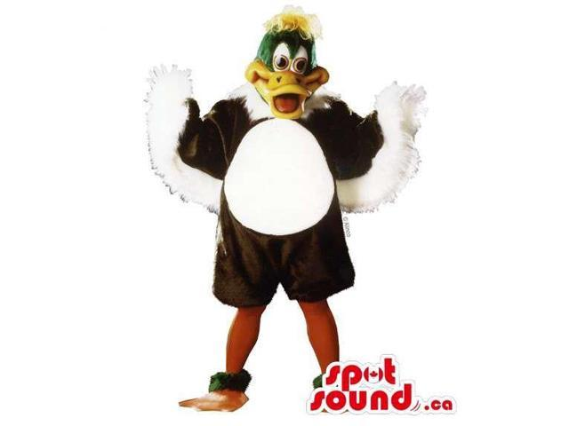 Customised Duck Animal Canadian SpotSound Mascot With Green Head And Yellow Hair
