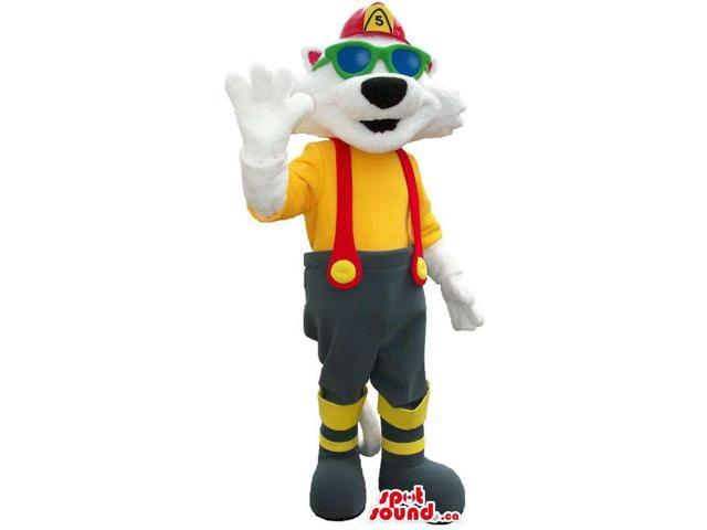White Cat Canadian SpotSound Mascot Dressed In Fireman Clothes And Sunglasses