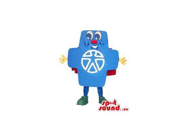 Peculiar Blue Cross Symbol Of Healthcare Or Medicine Canadian SpotSound Mascot