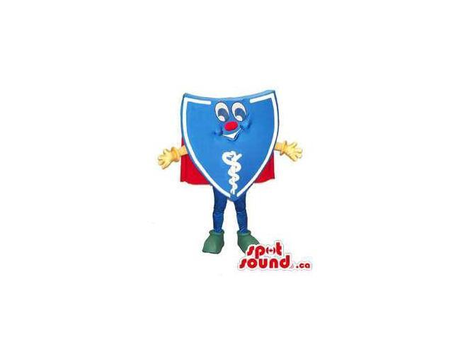 Peculiar Blue Shield Canadian SpotSound Mascot With Healthcare Symbol Dressed In A Cape