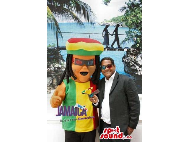 Rastafarian Jamaican Reggae Human Canadian SpotSound Mascot With Dreadlocks