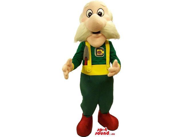 Old Man With White Moustache Canadian SpotSound Mascot Dressed In Gardening Overalls