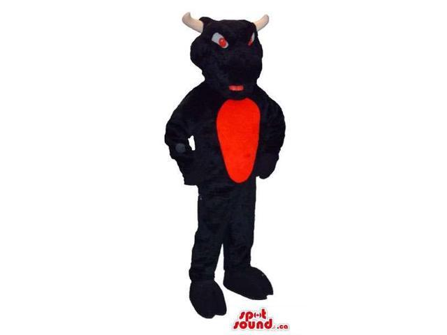 Black And Red Furious Bull Animal Canadian SpotSound Mascot With Red Eyes