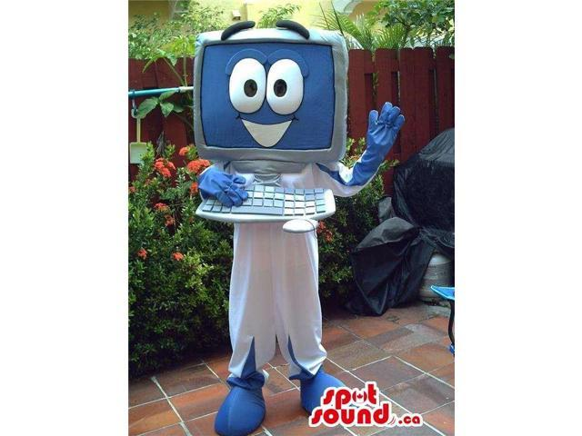 Computer Canadian SpotSound Mascot On White And Blue And Popping Wide Eyes