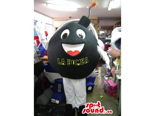 Black Bomb Canadian SpotSound Mascot With Letters And Peculiar Face