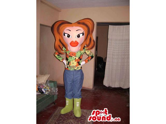 Lady Canadian SpotSound Mascot With Large Face, Lips And Brown Hairstyle And Boots