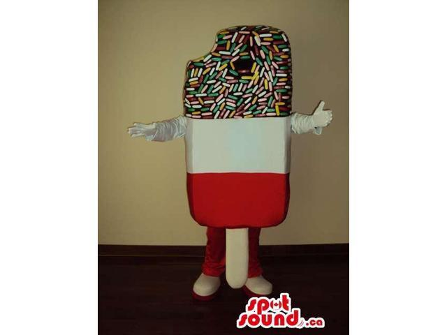 Ice-Cream Canadian SpotSound Mascot With Three Colors And Flavours And Frosting