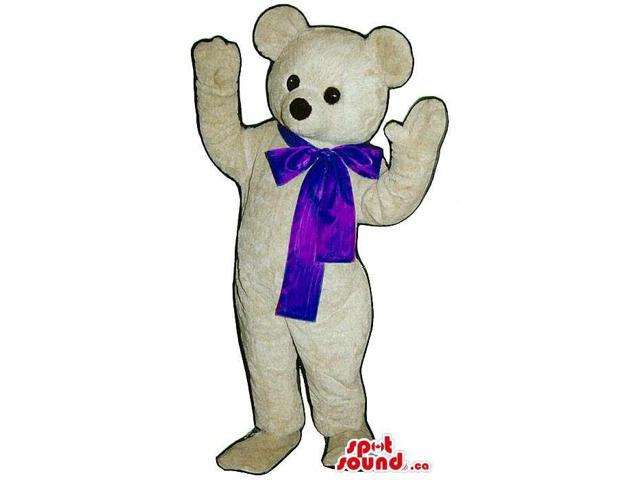 White Bear Canadian SpotSound Mascot With Black Round Eyes Dressed In A Large Blue Ribbon