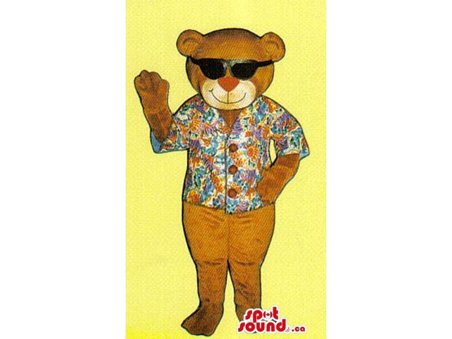 Brown Plush Bear Canadian SpotSound Mascot Dressed In Sunglasses And A Holiday Shirt