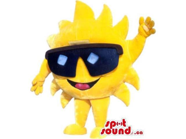 Bright Yellow Sun Plush Canadian SpotSound Mascot Dressed In Huge Sunglasses