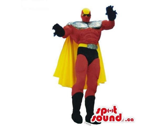 Superhero Canadian SpotSound Mascot Or Disguise In Red And Black With A Yellow Cape