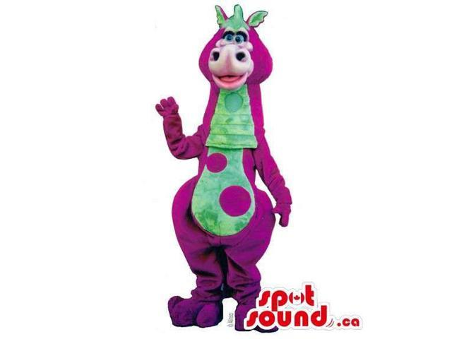 Cute Purple And Green Dinosaur Plush Canadian SpotSound Mascot With Large Spots