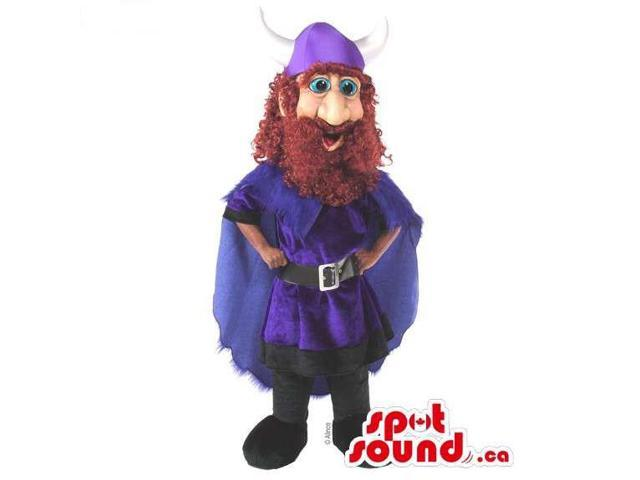 Human Character Canadian SpotSound Mascot With A Red Beard And A Purple Hat And Cape