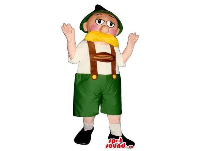 Character Canadian SpotSound Mascot Dressed In Tyrol Gear With A Blond Moustache