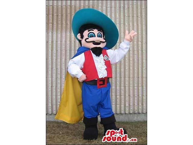 Character Canadian SpotSound Mascot With A Moustache And Red And Blue Clothes