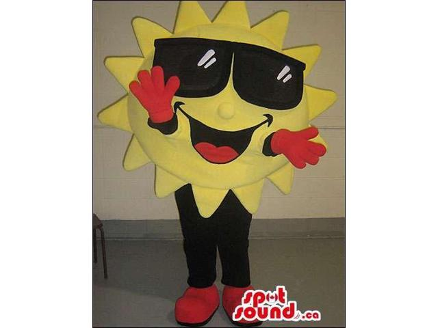 Cool Sun Plush Canadian SpotSound Mascot Dressed In Sunglasses And Red Gloves