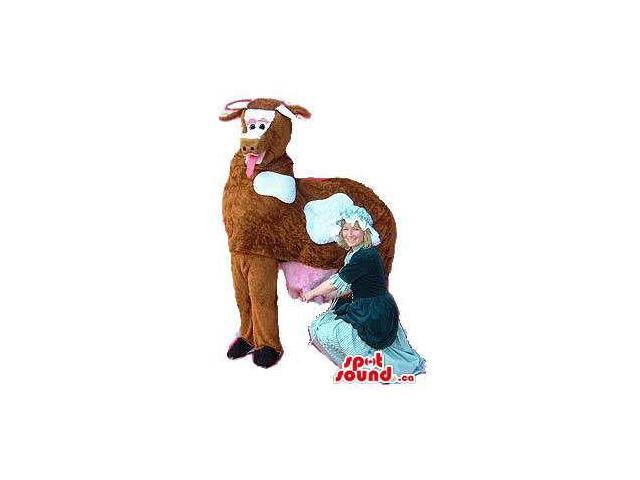 Original Brown Cow Animal Plush Canadian SpotSound Mascot On All Fours