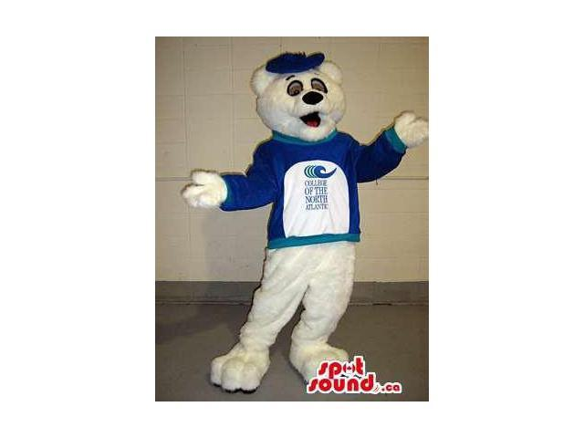 White Bear Canadian SpotSound Mascot Dressed In A Blue Shirt With Text And Logos