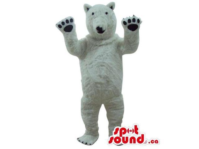 All White Bear Plush Animal Canadian SpotSound Mascot With Tiny Back Eyes