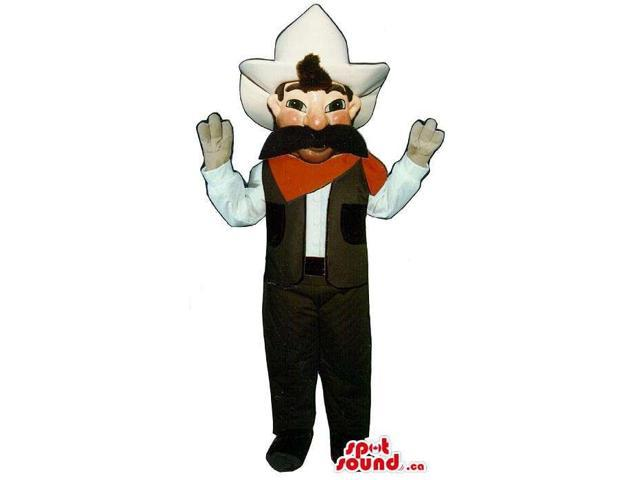 Great Cowboy Character Canadian SpotSound Mascot With A Large Black Moustache