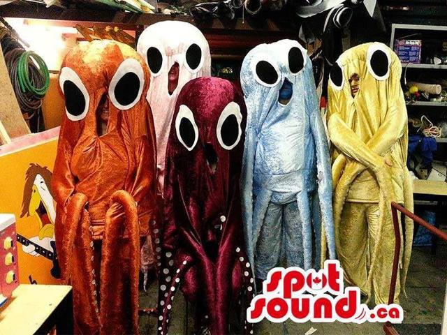 Peculiar Shinny Octopus Group Canadian SpotSound Mascot In Various Colors