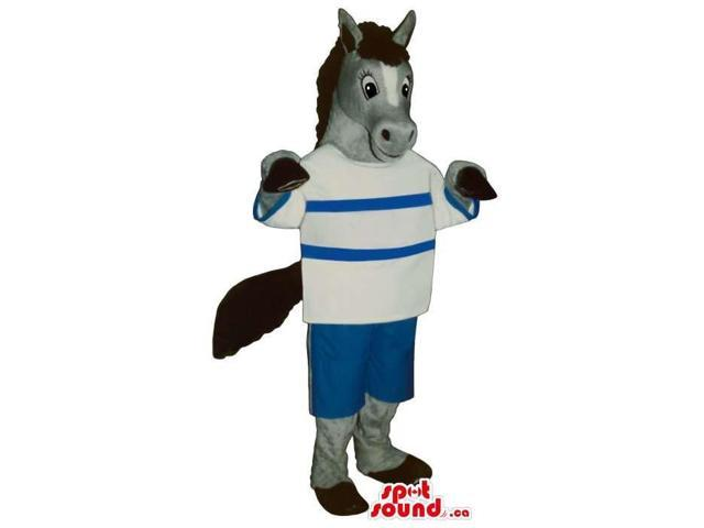Grey Donkey Animal Plush Canadian SpotSound Mascot With A Striped T-Shirt