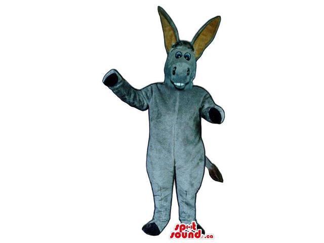 Customised All Grey Donkey Animal Plush Canadian SpotSound Mascot With Long Ears