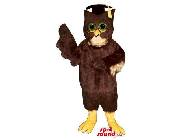 Brown Owl Plush Canadian SpotSound Mascot With Green Eyes Dressed In A Teacher Hat