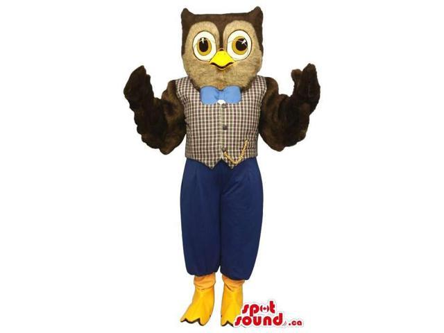 Owl Plush Canadian SpotSound Mascot Dressed In An Elegant Vest And Blue Bow Tie