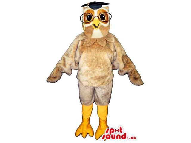 Beige Owl Plush Canadian SpotSound Mascot Dressed In A Teacher Hat And Glasses