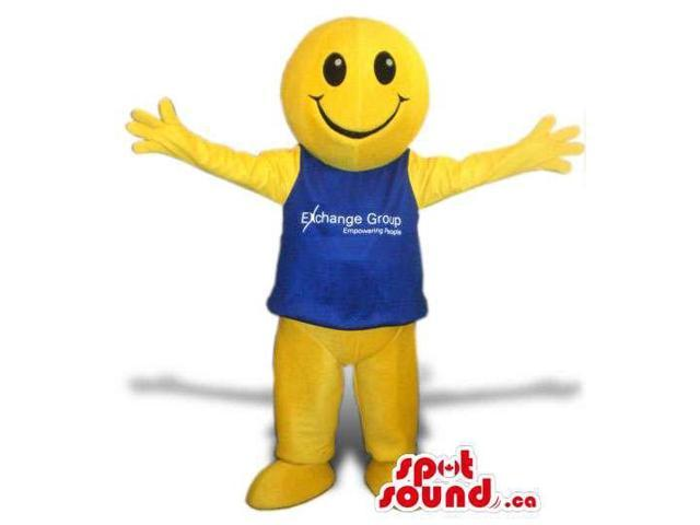 Great Large Yellow Round Ball Smiley Canadian SpotSound Mascot With A Blue Top