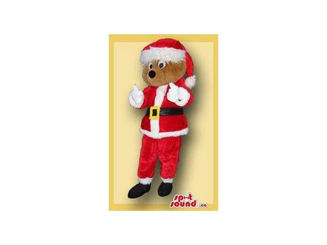 Brown Bear Forest Plush Canadian SpotSound Mascot In Santa Claus Gear