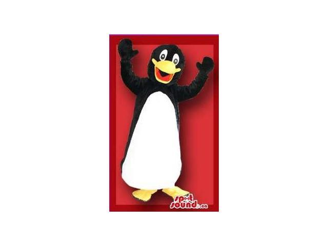 Cute Penguin Plush Canadian SpotSound Mascot With Fun Face And White Belly