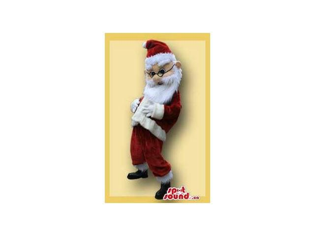 Santa Claus Character Plush Canadian SpotSound Mascot With Round Glasses