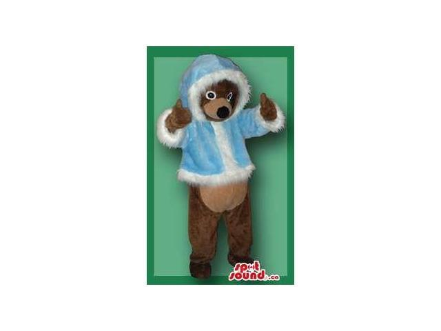 Brown Bear Forest Plush Canadian SpotSound Mascot In Blue Winter Gear