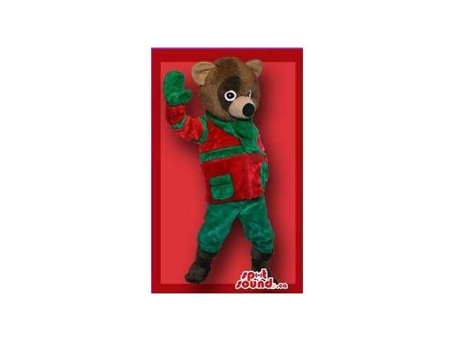 Brown Bear Forest Plush Canadian SpotSound Mascot In Red And Green Winter Gear