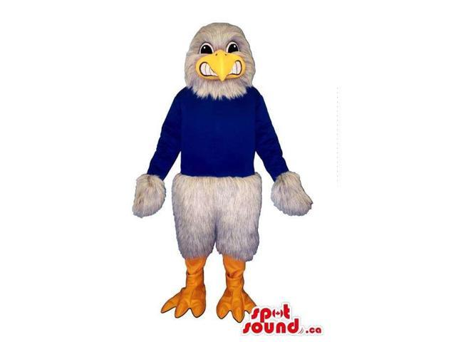 Customised White Angry Eagle Dressed In A Blue Customised Top