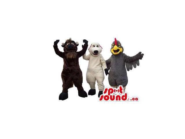 Three Varied Animal Plush Canadian SpotSound Mascots: A Cow, Dog And Hen