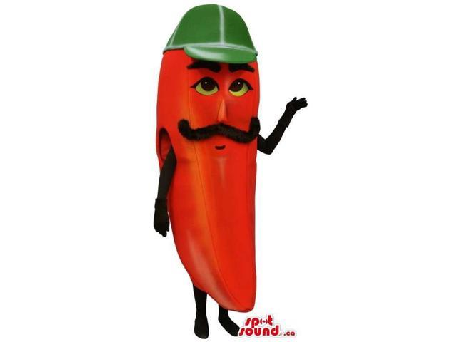 Red Pepper Vegetable Canadian SpotSound Mascot With A Moustache And Green Cap