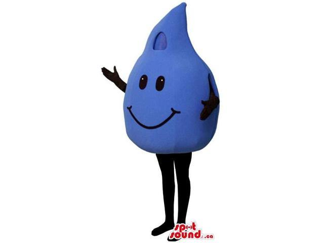 Large Blue Drop Of Water Canadian SpotSound Mascot With A Smiley Face