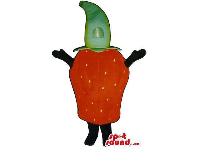 Customised Red Strawberry Fruit Canadian SpotSound Mascot With No Face