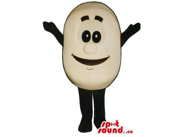 White Cute Potato Vegetable Food Canadian SpotSound Mascot With Large Smile