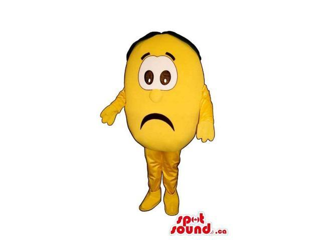 Bright Yellow Sad Lemon Plush Canadian SpotSound Mascot With Peculiar Face