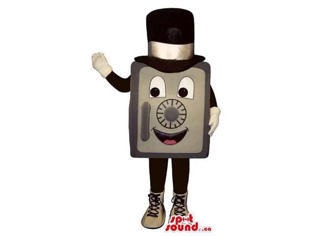 Peculiar Safe Box Plush Canadian SpotSound Mascot Dressed In A Top Hat And Shoes