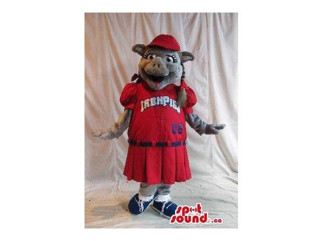 Grey Boar Wild Pig Girl Animal Plush Canadian SpotSound Mascot Dressed In Red Gear