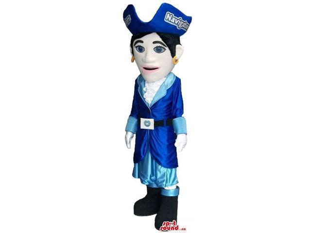 Lady Pirate Canadian SpotSound Mascot With Blue Clothes And Brand Name